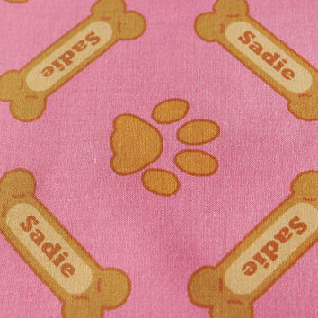 Personalized Pet Fabric With Your Dog's Name for toys, pet beds, dog clothing , etc with custom color options