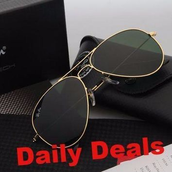 CREYGE2 Beauty Ticks Ray Ban Aviator Sunglasses Gold Frame Green Lens Rb3025 Sunglasses
