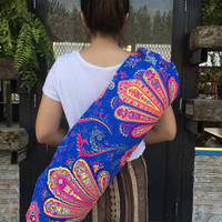 HANDMADE YOGA BAG - Cross body Yoga bag Yoga Sling bag  Pilates Bag Pilates Mat Bag Ethnic Namaste Hippie Bag Canvas bag Unisex bag