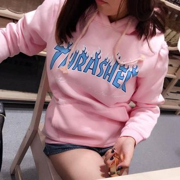 Thrasher men and women long sleeved coat Sport hoodie casual Sweater