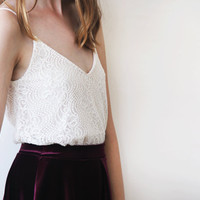 Ivory open-back lace tank top , Bridal lace top , Open back lace bridal top