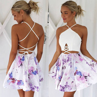 Summer Spaghetti Strap Strapless White Mosaic Print One Piece Dress