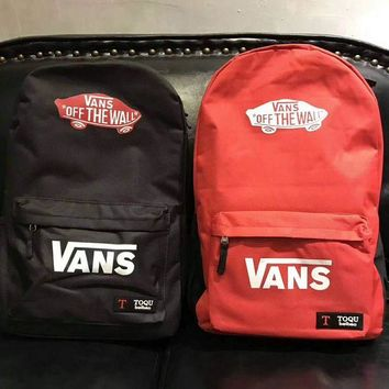 VXL8HQ VANS Canvas double shoulder backpack college students in the wind of the school children's schoolbag youth fashion bag G-A-GHSY-1