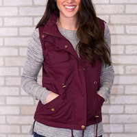 Military Hooded Vest - Wine
