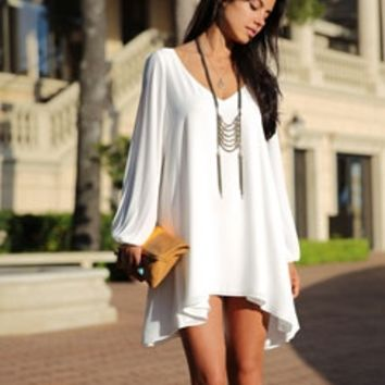 White V Neck Chiffon Long Open Split Slit Sleeve Flowy Loose Shift Mini Dress