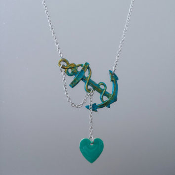 Lost Heart at Sea Necklace by SBC, Patina Anchor, Teal Green Heart, Ship Wheel Necklace, Sideways Anchor, Teal Anchor Necklace, Ahoy