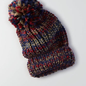 AEO Space-Dyed Pom Beanie , Burgundy