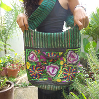 Cotton Sling Hobo Crossbody Bag Embroidered Green Black Stripes Hippie Bag Womens Purse Large Green Gypsy Purse Handcrafted Boho Mexican Bag