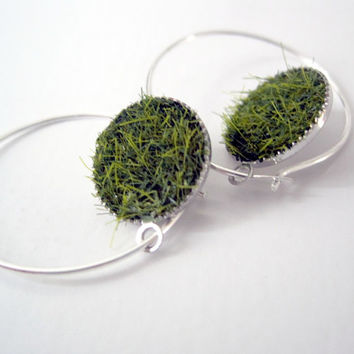 Green Grass Sterling Silver Hoops Earrings