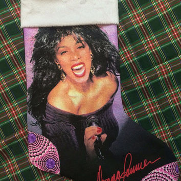 DONNA SUMMER - Upcycled Rock Band T-shirt Christmas Stocking - OOAk