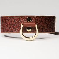 Leather Bondage Collar - Chestnut Brown Latigo - Embossed with Thorns - Brass Lead Ring -  Brass Fasteners