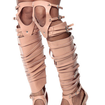 Nude Malina Goddess Thigh High Heels