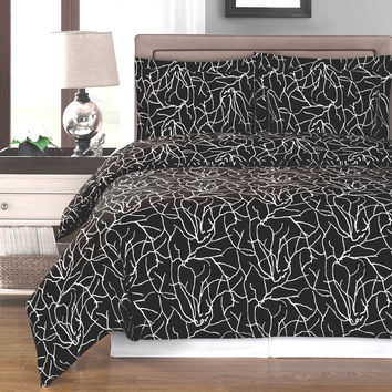 Ema Black Duvet Cover 100% Egyptian Cotton