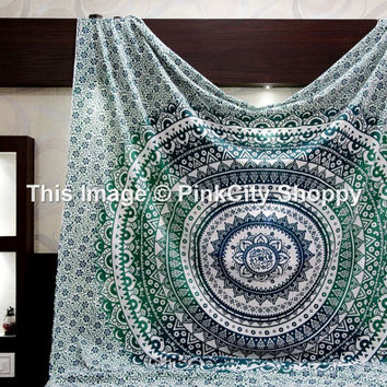 Ombre Hippie Mandala Tapestry wall Hanging Boho Bohemian Queen Bedding Throw Indian Mandala Tapestries wall tapestries beach blanket throw