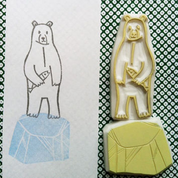 polar bear stamp - hand carved rubber stamp - bear and iceberg - catching a fish - set of 2