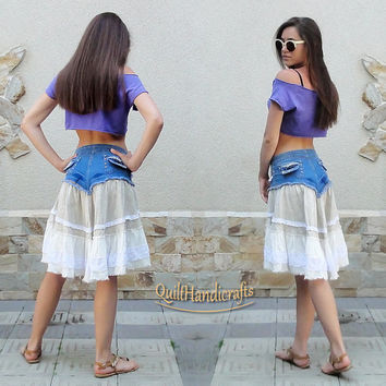 Denim skirt Romantic lace Skirt hippie gypsy Boho skirt Upcycled clothing Country western Eco fashion Skirt Boho Clothing Recycle Patchwork