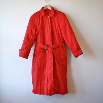 Eddie Bauer Goose Down Bright Red Full Length Winter Trench Style Coat Womens XS Small