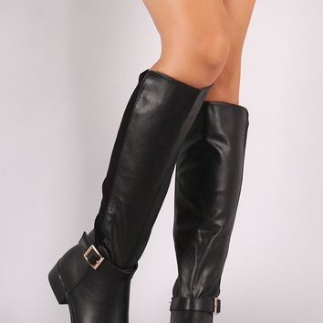 Bamboo Vegan Leather Ribbed Suede Riding Boots