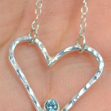 Sterling Silver Aquamarine Heart Necklace
