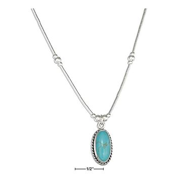 "STERLING SILVER 16"" LIQUID SILVER WITH OVAL SIMULATED TURQUOISE NECKLACE"