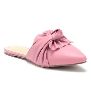 Women's Knotted Twist Bow Pointed Toe Flat Loafers Mules Shoes