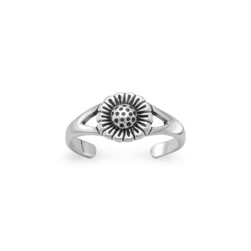 Sterling Silver Oxidized Sunflower Toe Ring