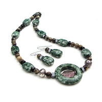 Green jasper stone choker necklace set - green, brown and black gemstone necklace - natural stone necklace by Sparkle City Jewelry