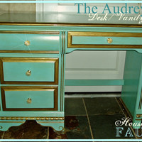 Vintage Hollywood Inspired Tiffany Blue Desk / Vanity