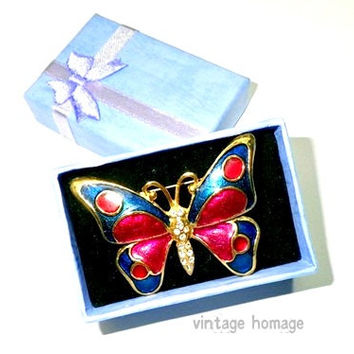vintage enameled teal green & fuschia pink butterfly with crystals antique gold brooch / pin