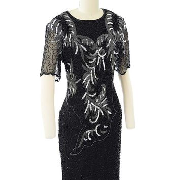 1980s Black Silk Beaded Sequined Cocktail Dress