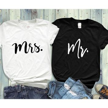 Couple Tshirt His and Hers Mr Mrs Husband and Wife T Shirts Matching Wedding Gift Top Tee Summer Unisex Fashion