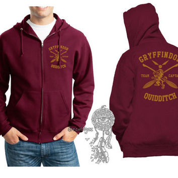 Gryffindor Quidditch team Captain Yellow print printed on Maroon Zipper Hoodie