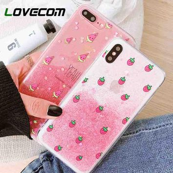 LOVECOM Glitter powder Gradient Phone Case For iPhone 6 6S 7 8 Plus X Lovely Pink Strawberry Fruit Soft TPU Back Cover Coque