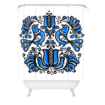 Chobopop Korond Folk Art Shower Curtain