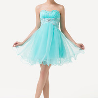 Pale Turquoise Strapless Beaded Homecoming Dress
