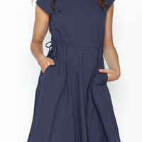 Linen Pocket Dress Navy Blue