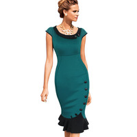 Womens Vintage Elegant Formal Lace Button Patchwork Tunic Wear To Work Party Mermaid Midi Pencil Wiggle Bodycon Dress 721