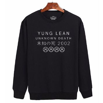 DCCKJ1A [YUNG LEAN UNKNOWN DEATH unknown ã??death 2002] letter new long-sleeved sweater