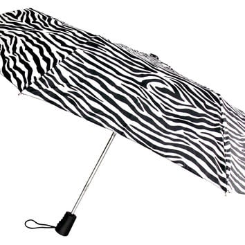 "Totes Automatic Zebra Umbrella 42"" Large Auto Open Sun Travel Compact Mini Folds"
