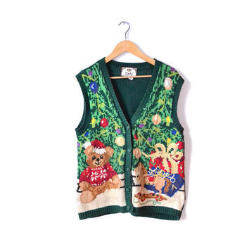 Christmas Sweater Tacky Christmas Vest Christmas Ugly Christmas Top Tree Sweater Red Womens Mens Unisex Clothing Sweaters