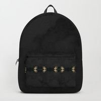 Black Gold Green Marble Mandala Abstract Backpack by Sheila Wenzel