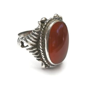 Sterling carnelian ring  -  size 8 1/2 - Ornate silver setting ribbed with hearts - statement ring