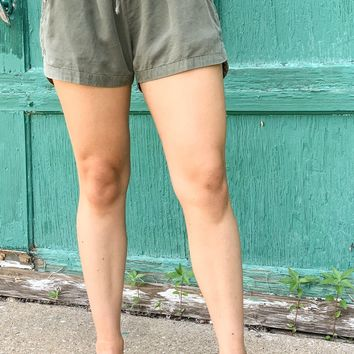 Turn Up the Heat Olive Tencel Shorts