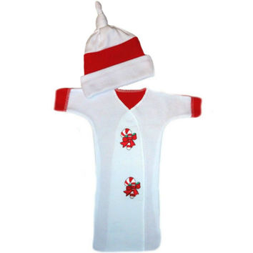 Unisex Baby Candy Cane Christmas Bunting Gown Set