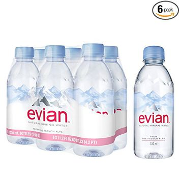 Evian Spring Water, Plastic, 6-Count