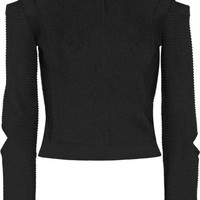 Versus Versace - Cropped cutout ribbed-knit sweater