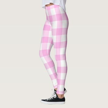Pink Rose Checkered Pattern Leggings
