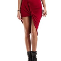 Draped Asymmetrical Wrap Skirt by Charlotte Russe - Oxblood