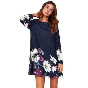 SHEIN Fall Dress Flower Print Flowy Dress Navy Boat Neck Long Sleeve A Line Dress Autumn  Casual Womens Dress