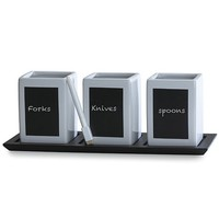 Towle Living 3-piece Ceramic Chalkboard Flatware Caddy on Wood Tray with Chalk | HSN